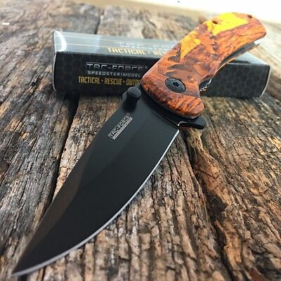 TAC FORCE SPRING ASSISTED KNIFE Orange Camo Tactical Folding EDC POCKET Blade -A