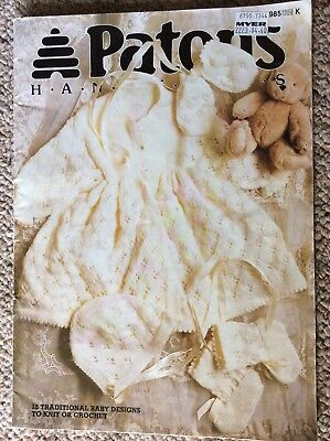 Vintage Patons Baby Knitting  & Crochet Pattern Book 985 12 Traditional Designs