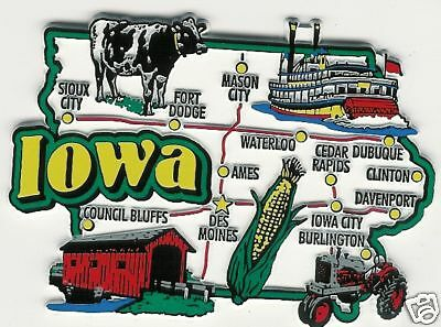 Iowa  Jumbo   State  Map  Magnet Ia   7 Color  Des Moines, Dubuque, Sioux City