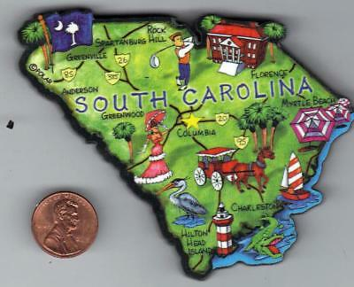 Artwood   South Carolina  Sc  State Map Magnet  Columbia Charleston  Hilton Head