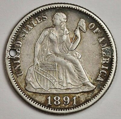 1891-s Liberty Seated Dime.  X.F. Detail.  Holed. 115817