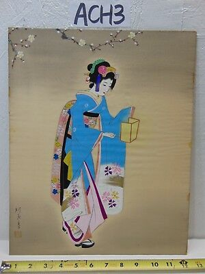 Vintage Asian Japanese Geisha-Lantern Painting Old On Silk Blue Kimono Signed