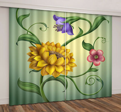 2 Panels Bloom Flower Photo Print Mural 3D Blockout Drapes Curtain Fabric Window