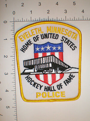 """MN Minnesota Eveleth Police patch - Home of US HOCKEY Hall of Fame - 4 1/2"""" tall"""