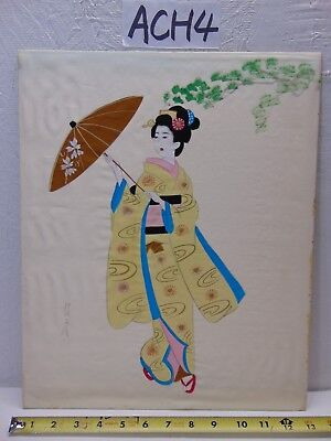Vintage Asian Japanese Geisha Painting Old On Silk Yellow Kimono Signed Umbrella