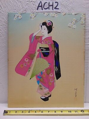 Vintage Asian Japanese Geisha Painting Old On Silk Pink Kimono Signed Artist