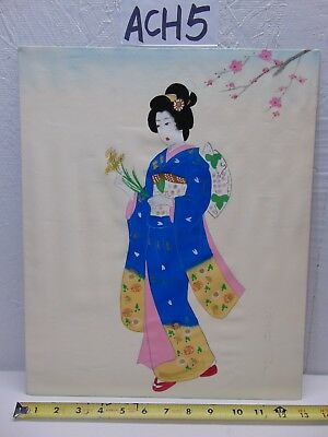 Vintage Asian Japanese Geisha Painting Old On Silk Blue Kimono Signed-Flowers