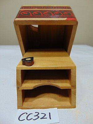Vintage Wood Playing Card Case For 2 Decks-Mid Century Rare-Poker Red-Black