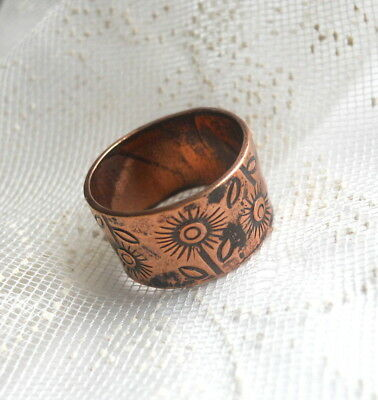 1960s Vintage FLOWER POWER Engraved COPPER Ring WIDE Band Size 5