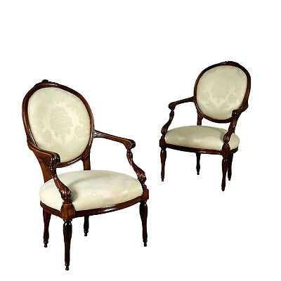 Pair of Armchairs from Genoa Solid Walnut Italy 18th Century