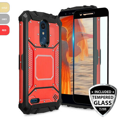 For LG K30 Metal Aluminum Magnetic Support Phone Case Cover+Black Tempered Glass