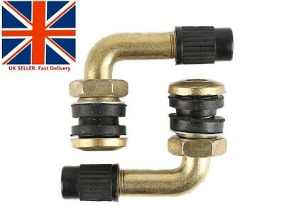 Uk 2X 90 Degree Angle Metal Tire Valve Stems High Pressure Bolt In Tubeless&cap