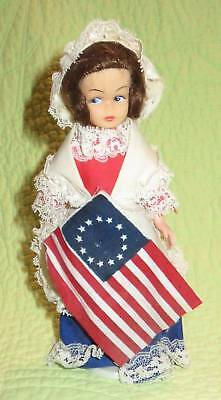 """Vintage 1970s BETSY ROSS Collector 8"""" DOLL Figure America Colony Flag"""