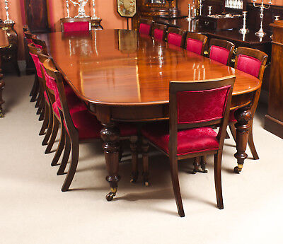 Antique 12ft Victorian D-end Mahogany Dining Table & 14 chairs 19th C