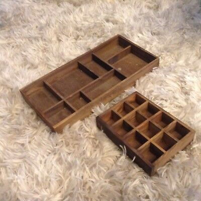 TWO Vintage/Antique WOOD Sectioned SHADOW BOXES, Small & Medium Size