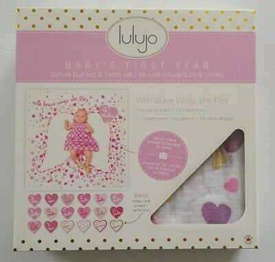 lulujo Baby's First Year Milestone Blanket & Card Set Monthly Photo Prop NEW