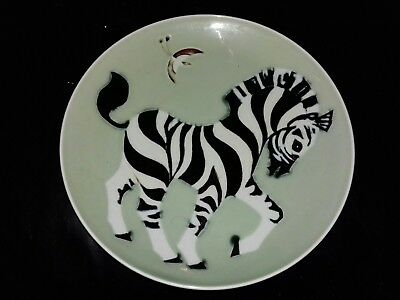 Vintage Chinese  Handpainted  Zebra  Plate Signed