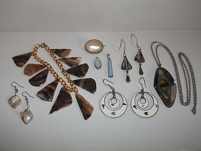 Lot of Vintage Shell & Mother of Pearl Jewellery inc. Sterling & Mexican Silver