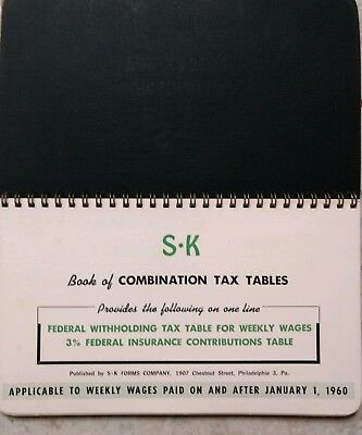 1960 Federal Withholding Tax Table for Weekly Wages Flip Book S-K Payroll System