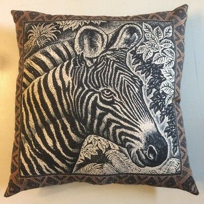 New 15 X 15 Etched Black & White Zebra On Animal Wildlife Theme Complete Pillow