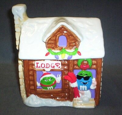"Galerie M&m Ceramic Cookie Jar / Candy Dish ""lodge"" Log Cabin W/lights M&m's"