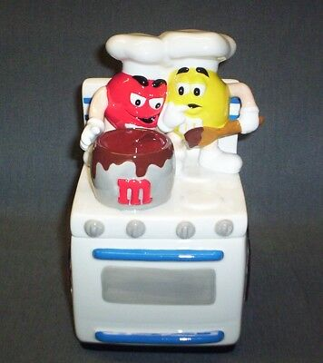"Galerie M&m Ceramic Cookie Jar / Candy Dish ""cooking On Stove""  M&m's Brand"