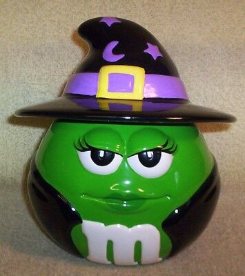 "Galerie M&m Ceramic Cookie Jar / Candy Dish ""witch"" Halloween Theme  M&m's Brand"