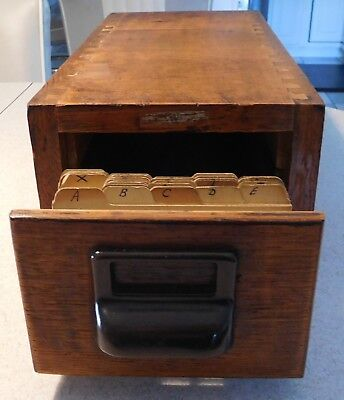Antique Thick Wood Dovetailed File Box / Library Catalog Index Box