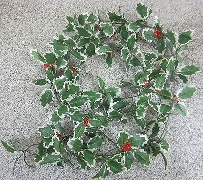 Best Artificial 7ft/2.2m Holly Christmas Ivy Leaf Garland String and Red Berries