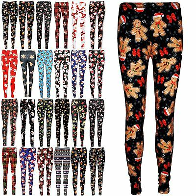 Womens Christmas Red Nose Rudolph Reindeer Ladies Xmas Santa Candy Tree Leggings