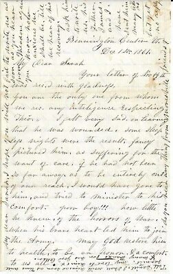 Union HomeFront Letter Anna Kellogg to Niece Sarah Draper, Son Theo Wounded