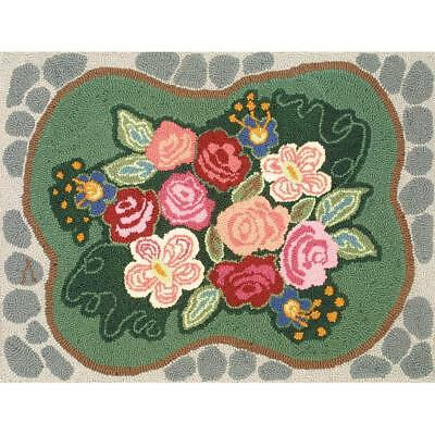 "Rug Hooking Kit (Not latch Hook) by Heritage. Cobblestone Rose 20x27""  ~ NO TOOL"