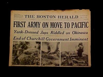 Ww 2 Boston Herald Newspaper May 22, 45 1St Army To Pacific