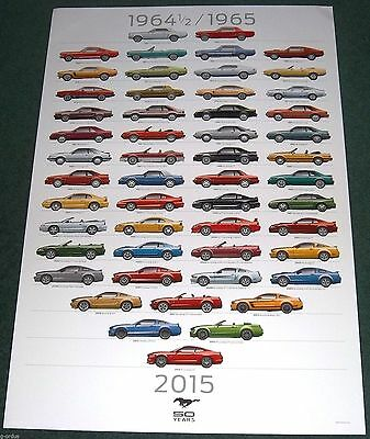 RARE NEW 1965-2015 FORD MUSTANG 50TH ANNIVERSARY DEALERSHIP ONLY POSTER! 2FTx3FT