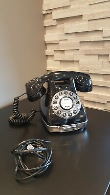 Pottery Barn Retro Grand Corded Phone Black Vintage Classic Old Style Fully Func