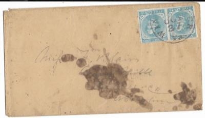 CSA Cover Winchester to Miss FM Blain in Collectsville, NC HP CS#6's CDS 10/27