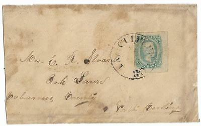 CSA Cover Culpeper CH, Va to Mrs C.R. Sloan in Oak Lawn, NC with CS #11 Stamp