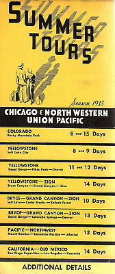 Chicago & North Western Union Pacific Railroad 1935 Brochure Summer Tours Scarce