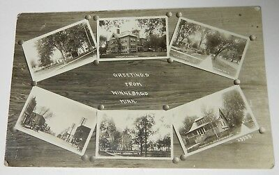 1910-20 GREETINGS WINNEBAGO MINNESOTA RPPC POSTCARD Residents School Hadley St