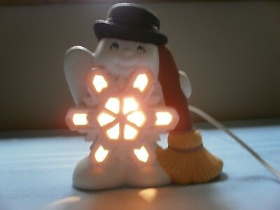 Vintage Ceramic Mold Frosty The Snowman Lighted Snowflake With Top Hat & Broom