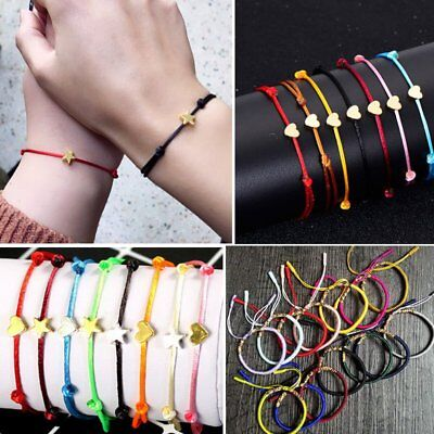 Fashion Punk Adjustable Lucky Bracelet Heart Star Rope Women Jewelry Party Gift