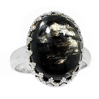 Rare Black Golden Seraphinite From Serbia 925 Silver Ring Jewelry s.6.5 RR216034