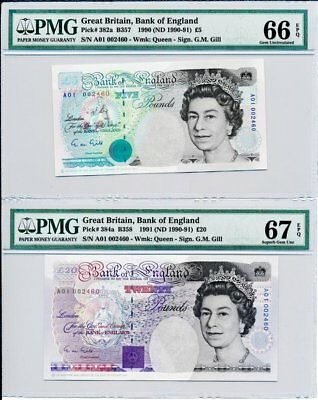 Bank of England G. Britain  5.20 P 1990  Same /No 002460 PMG  66/67EPQ 2 Pcs