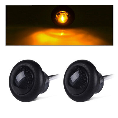 """2Pcs 3/4"""" Round Amber Led Clearance Marker Light Smoked Truck Car Trailer 12V"""
