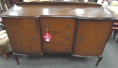 Vintage QUEEN ANNE Style Mahogany Veneer Brown Sideboard Buffet - R34