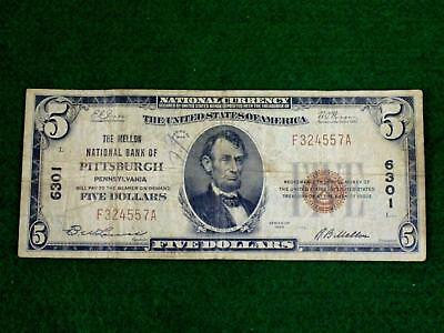 1929 $5.00 National Currency - The Mellon National Bank Of Pittsburgh. Pa