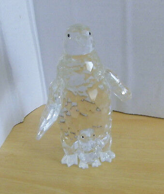lead crystal penguin & chick