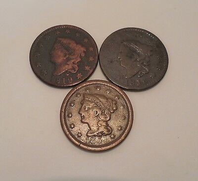 3- 1816, 1819, 1854- Coronet Head & Braided Hair- Rotated Dies- Large Cents- #1T