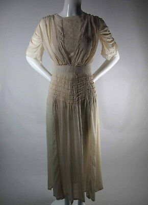 Antique Edwardian Lace And Silk Dress With Beautiful Detail