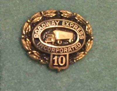 Vintage ROADWAY EXPRESS INC 10 Years Trucking Truck Driver Employee Service PIN